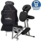 STRONGLITE Portable Massage Chair Ergo Pro II - Ultra-Strong, Lightweight, Folding Tattoo Spa Massage Chair with Wheels & Carry Case (600lbs Working Weight), Black