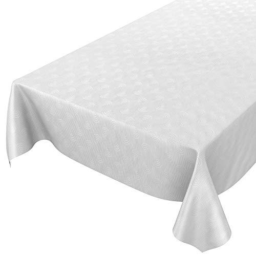 ANRO - Mantel de hule lavable, para mesa, 95% PVC, 5% poliéster., Diseño de rayas con adorno de color blanco., 160 x 140cm Schnittkante