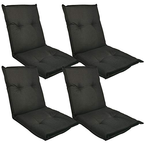 DILUMA Niedriglehner Auflage Naxos für Gartenstühle 98x49 cm 4er Set Uni Schwarz - 6 cm Starke Stuhlauflage mit Komfortschaumkern und Bezug aus 100% Baumwolle - Made in EU mit ÖkoTex100