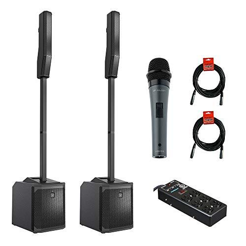Electro-Voice EVOLVE 30M Portable 1000W Column Sound System (Pair) with HDM-16-S Dynamic Mic, 6-Outlet Plug Power Block & 2x XLR Cable Bundle