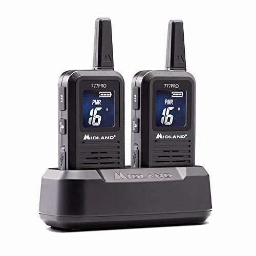 Midland 777 Pro, C1365, 2 x hochwertige PMR446 + LPD Funkgeräte für die professionelle und Private Nutzung mit kraftvollem Lautsprecher und digitalem Display, bis zu 14 Stunden Betriebszeit, schwarz
