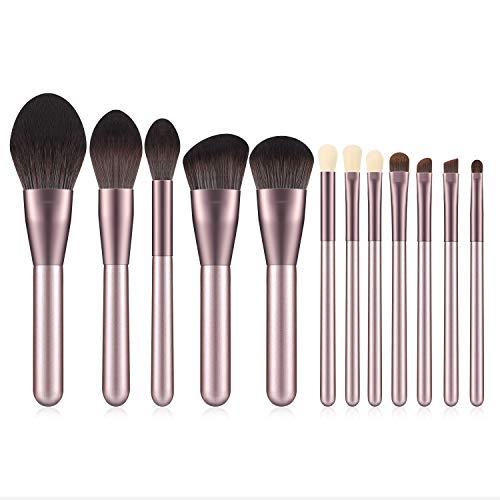 Simsly Eye Make Up Brushes Set 12 Pcs Poignée Cosmetic Brush Ombre À Paupières Brosse Professionnel Synthétique Soies Vegan Foundation Blush (Or Rose) (Pinceau)