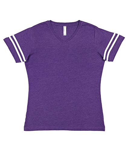 LAT Ladies' Fine Jersey Short Sleeve Football Tee (Vintage Purple/Blended White, XX-Large)