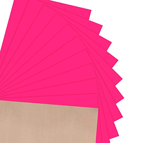 JANDJPACKAGING Neon Pink HTV Heat Transfer Vinyl - 10 Pack HTV Vinyl for Cricut, Silhouette Cameo, Bonus Teflon for Heat Press Machine