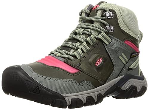 KEEN Women's Ridge Flex Mid Height Waterproof Hiking Boot, Castor Grey/Dubarry, 10