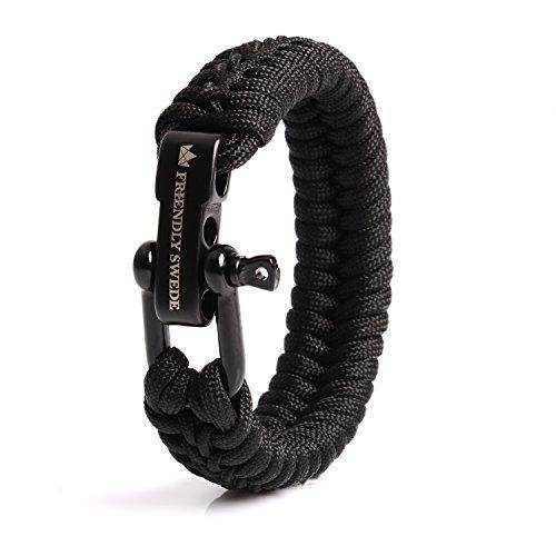 The Friendly Swede Paracord Survival Armband mit Micro-Cord - größenverstellbar (Schwarz Medium)