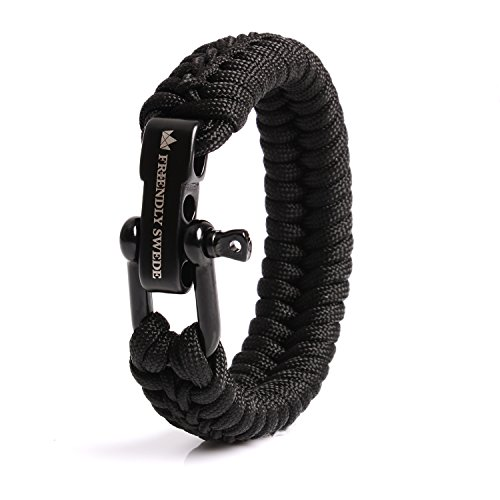 The Friendly Swede Paracord Survival Armband mit Micro-Cord - größenverstellbar (Schwarz Medium)