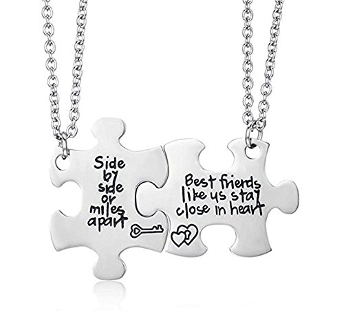 MAINBEAD Best Friends Side by Side or Miles Apart Best Friend Necklace Set Heart for Teen Girl BFF Friendship Necklace (Jigsaw Friend Necklace)