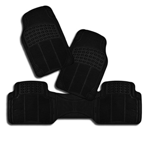 Zento Deals Set of 3-Piece Vehicle Floor Mats Odorless All Weather Trimmable Heavy Duty PVC Rubber (Black)
