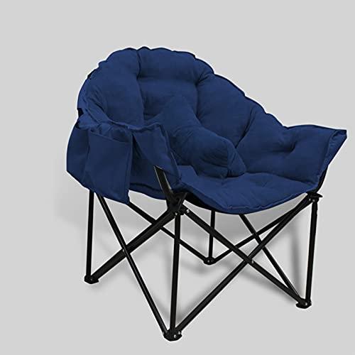 Silla Plegable Silla De Platillo Luna Redonda Tumbona Sillón Sofá Cama, Salones Al Aire Libre Dormitorios Patio Jardín Camping Playa,Navy Blue Sofa