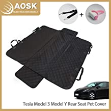 AOSK Tesla Model 3 Model Y Rear Seat Pet Cover, Waterproof Scratch Proof Nonslip Pet Dog Back Seat Covers Hammock for Model 3 Y Winter Accessories