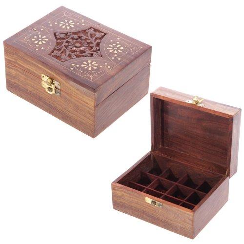 EliteKoopers 1 x dekorative Aufbewahrungsbox aus Sheesham-Holz mit Blumenfach für die Aufbewahrung, originelles Zubehör.