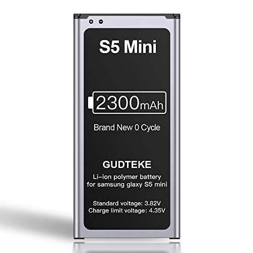 GUDTEKE Akku für Samsung Galaxy S5 Mini Verbesserter 2300-mAh-Lithium-Ionen-Akku Ersatz für Samsung S5 Mini Interner Akku