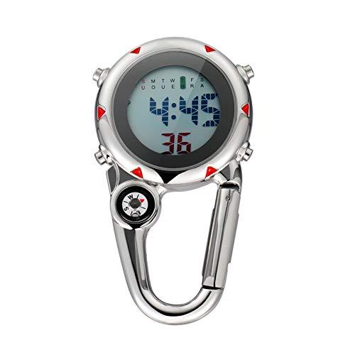 Homoyoyo Clip en Reloj de Cuarzo Digital Multifunción Reloj Mosquetón Reloj Mochila para Hombres Y Mujeres con Reloj Despertador Fecha Semana para Enfermeras Médicos Chefs Escaladores