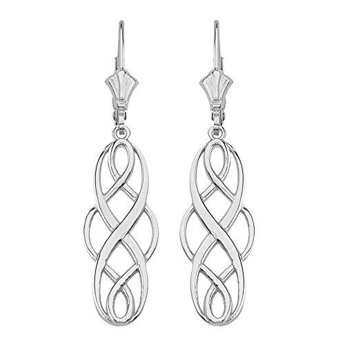 Polished 14k White Gold Celtic Interlace Knot Work Dangle Earrings