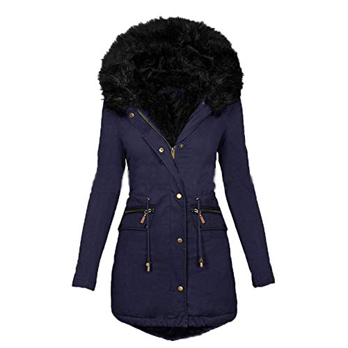 Autumn And Winter Solid Color Fur Collar Hooded Mid-Length Warm Cotton Coat Women