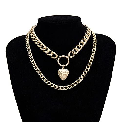 collarPunk Hip-Hop Gótico Cadena Corta Exagerada Metal Moda Amor Colgante Collar Collar Mujer Color Plateado Accesorios de joyería