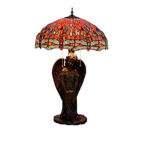MISLD Table Lamps, Tiffany Style Table Lamp With Red Dragonfly And Base Angel Girl Glass Lamp, Retro Decoration Lights