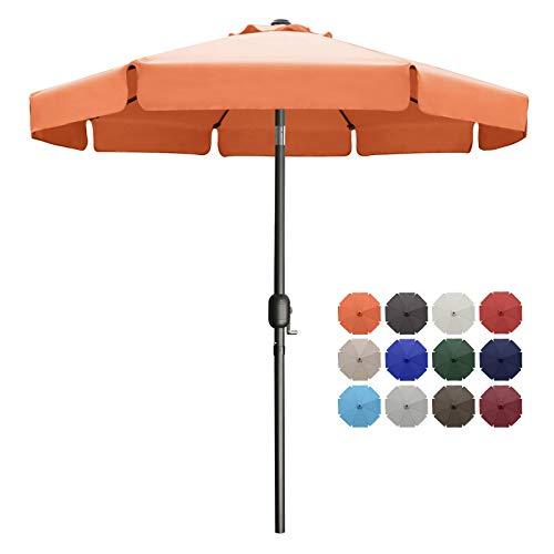 MASTERCANOPY Valance Patio Umbrella OutdoorMarket Table Umbrella with Ruffles, 8 Sturdy Ribs (9ft, Orange)