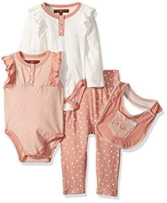 7 For All Mankind Baby Girls 4 Piece Set, slub Jersey Pink Combo, 0-3 Months