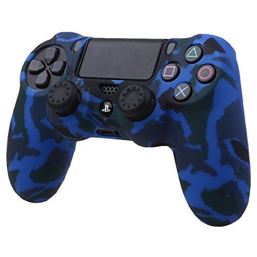 Pandaren® Wassertransfer Anpassen Camouflage Silikon Hülle Anti-Rutsch für PS4 controller x 1 (Blau) + thumb grips aufsätze x 2