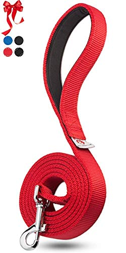 PetsLoversClub Red Dog Training Leash - Comfortable Padded Handle to Hold Strong Dogs - Perfect Length to Walk and Train Puppy - Beautiful Great Gift for First Time Owners - 6 Feet Long x 1 Inch Wide
