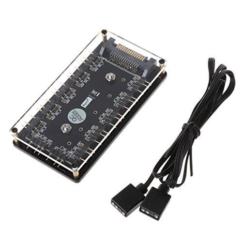 BINGBIAN 12-Wege 5 V RGB LED Splitter HUB für ASUS/MSI 5V 3Pin LED Controller mit PMMA-Gehäuse und magnetischem Abstandshalter SATA 15-Pin Netzteil