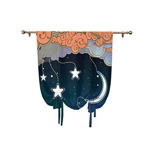 Cortina opaca para ventana con diseño de dibujos animados con nubes en espiral, estrellas y líneas de luna, aislada térmica, 76 x 107 cm, para ventanas del hogar, azul oscuro, blanco salmón