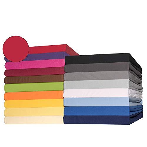 CelinaTex Lucina Topper Spannbettlaken 200x200-200x220 cm Rubin rot Baumwolle Spannbetttuch