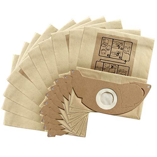 iFCOW Papier-Staubbeutel, 10 Stück, Papier-Staubsaugerbeutel Filtertüten Ersatz für Kärcher MV2 WD2.000-WD2.399 A2000-A2099 Staubsauger