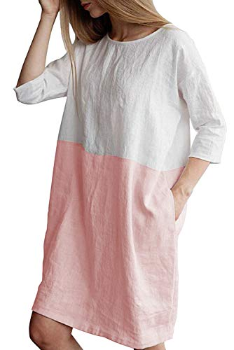 MAGIMODAC Leinenkleid Damen Tunika T Shirt Kleid Baumwolle Freizeitkleid Strandkleid Minikleid Shirtkleid Longshirt Oversize 36 38 40 42 44 46 48 50 (Rosa, Etikett 2XL/EU 44)