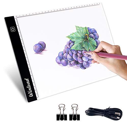Winload A4 Tracing Light Box, A4 LED Tavoletta Luminosa Regolabile per Disegno, 3,5mm Ultra-Sottile Light Board, Cavo di Alimentazione USB Dimmable Pad per Drawing Sketching, Disegno artistici
