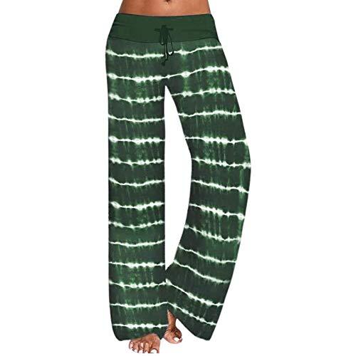 Hosen Damen,Mode Frauen Katzen Muster Blumendruck Freizeithose Lange Hose mit weitem Bein,Trainingshose Damen Jogginghose High Waist Sporthose Lang Sweathose Laufhosen Baumwolle Yogahosen(02-Grün)