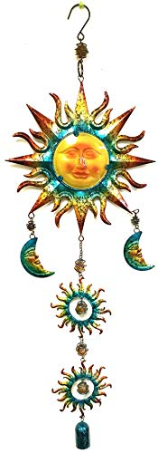 Bejeweled Display Sun & Moon Face Stained Glass Wind Chimes & Bell 36' H