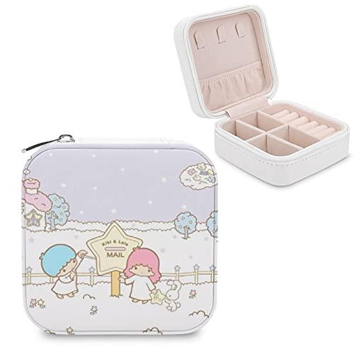 Kitty Little Twin Stars - Caja de joyería para mujer, cierre de cinturón de PU de gama alta con compartimento para almacenamiento, pendientes, pulsera de viaje portátil, regalo de color rosa claro