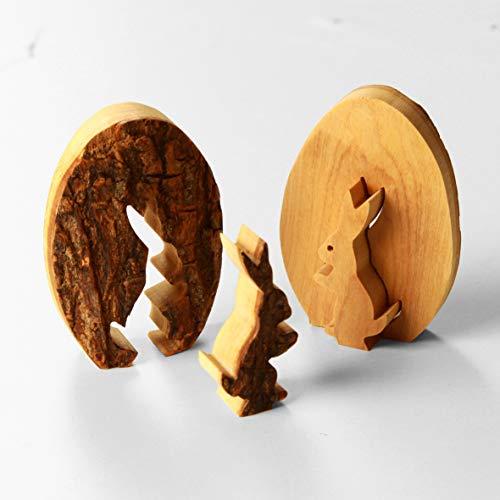KASSIS Olivenholz Osterdeko Tischdeko Osterhase im Ei mit Rinde 7 cm aus Bethlehem (1 Stück)
