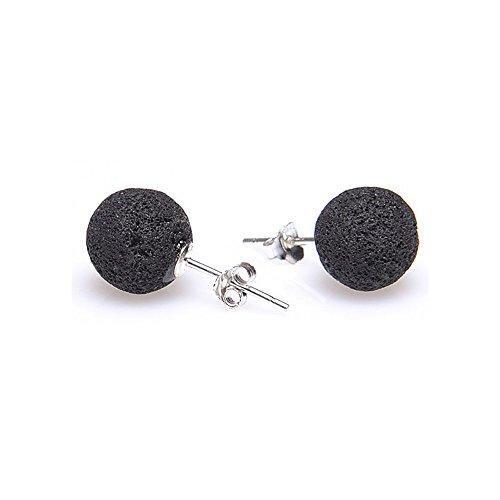 Ohrstecker Stecker aus echter Lava & 925er Silber ca. 8 mm schwarz mit kleinen Poren Lavaohrstecker
