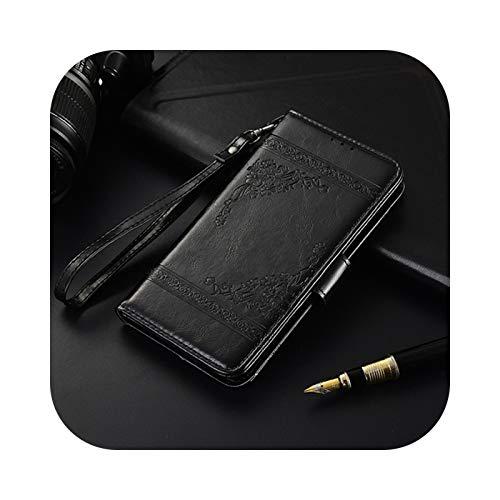 Funda de piel con tapa para Huawei Honor 9S 8S 9A 8A 9C 8X 8C 9X 7A 7S 7X 7C 6A 6C Pro 6X Y5P Y6P Y7P Y8P Y9A -Oil Black-Honor 6C