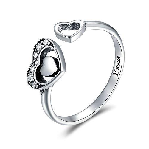 JIARU Anillo de plata de ley 925 ajustable para mujer, anillo simple de moda y anillos de diamante en forma de corazón para niña anillo de dedo abierto regalo