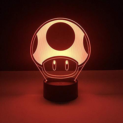 3D Illusionslampe Led Nachtlicht Spiel Super Mario 1 Up Pilz Kinder Für Kinder Schlafzimmer Dekorative Batteriebetriebene Tischlampe Geschenke Für Kinder