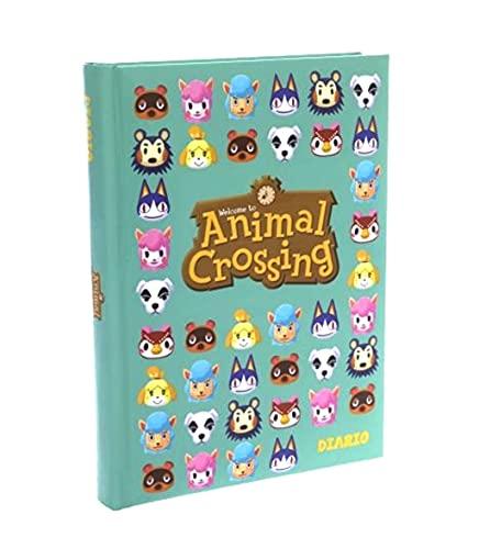 Diario escolar Animal Crossing F.to estándar 18 x 13 cm 2021/2022 verde agua + bolígrafo giratorio 6 en 1 y llavero de abril