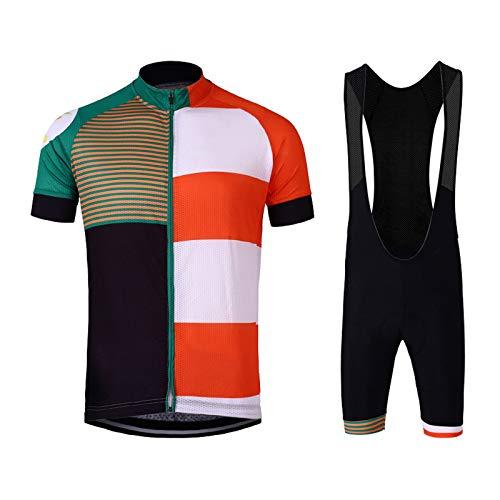 AIISHY Maillot Ciclismo Hombres Manga Corta y Pantalones Ajustados para Ciclismo Deportes al Aire Libre,G,XXL