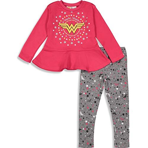 Warner Bros. Wonder Woman Baby Girls' High-Low Tuniek Shirt & Leggings Set, Rood/Blauw