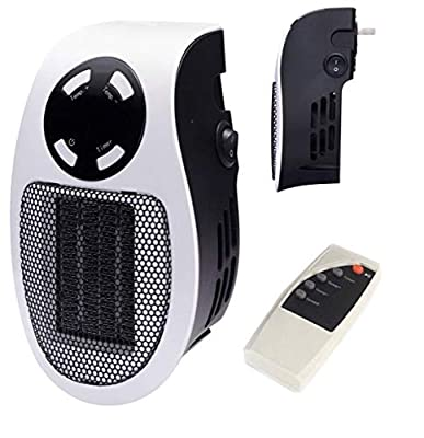 Premium Ceramic Portable Wall-Outlet Mini Space Heater 220v with Remote & Overheat Protection Great for Gifts-Home-Office-Dorm-Desktop Warmer-500-Watt 220v ETL Listed for Safe Use (By EliteProQuality)
