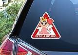 Pegatina Vinilo Bebe Reyna a Bordo, Baby Queen on Board. Adhesivo vinilo para coche. (16x18cm Niña)