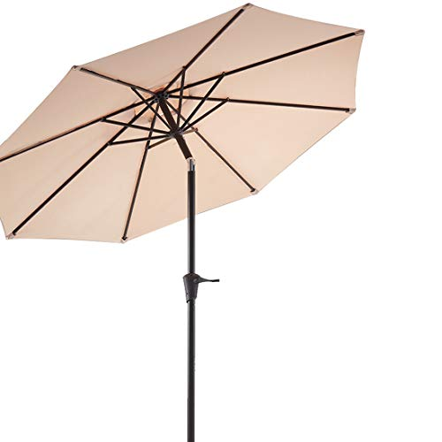 Wikiwiki 9ft Patio Umbrella Outdoor Market Table Umbrella with Push Button Tilt and Crank (Beige)