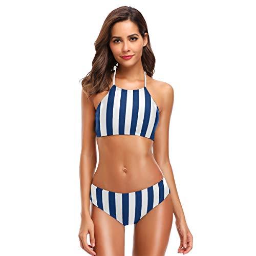ZZKKO Blauw en Wit Gestreepte Bikini Badpak Womens High Neck Halter Twee Stuk Badpak