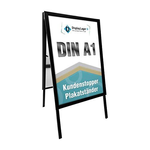 Displaylager - Kundenstopper Schwarz Alu-Line Gehrung A1 | Plakatständer DIN A1 Für 2 Plakate | Wetterfest mit entspigelten APET/Akryl Frontplatten | 32mm Alu Klapprahmen Profil |