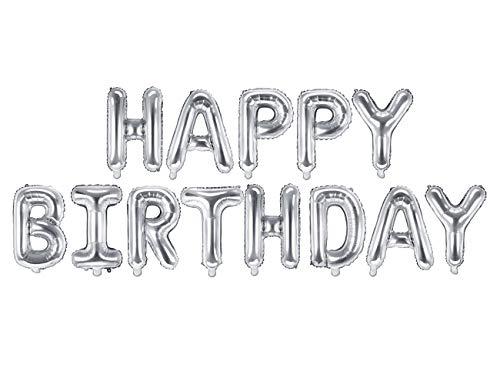 DekoHaus Folienballons Set Happy Birthday in Silber 35x340cm