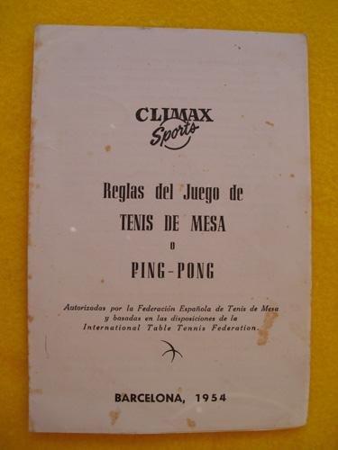 Folleto Publicidad - Advertising Brochure: REGLAS DEL JUEGO DE TENIS DE MESA O PING - PONG